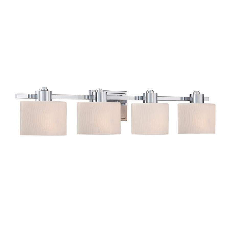 Shop allen roth 4 light grayson polished chrome bathroom for Bathroom 5 light fixtures