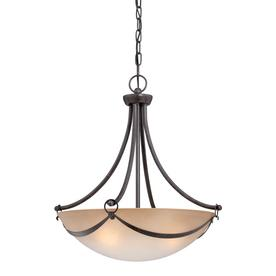 allen + roth Winnsboro 19.5-in W Oil-Rubbed Bronze Pendant Light with Marbleized Shade