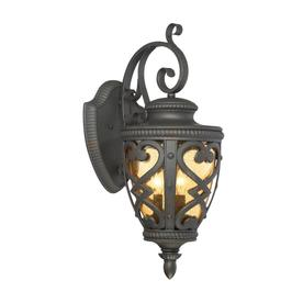 allen + roth Grandura 22-5/8-in Black Outdoor Wall Light