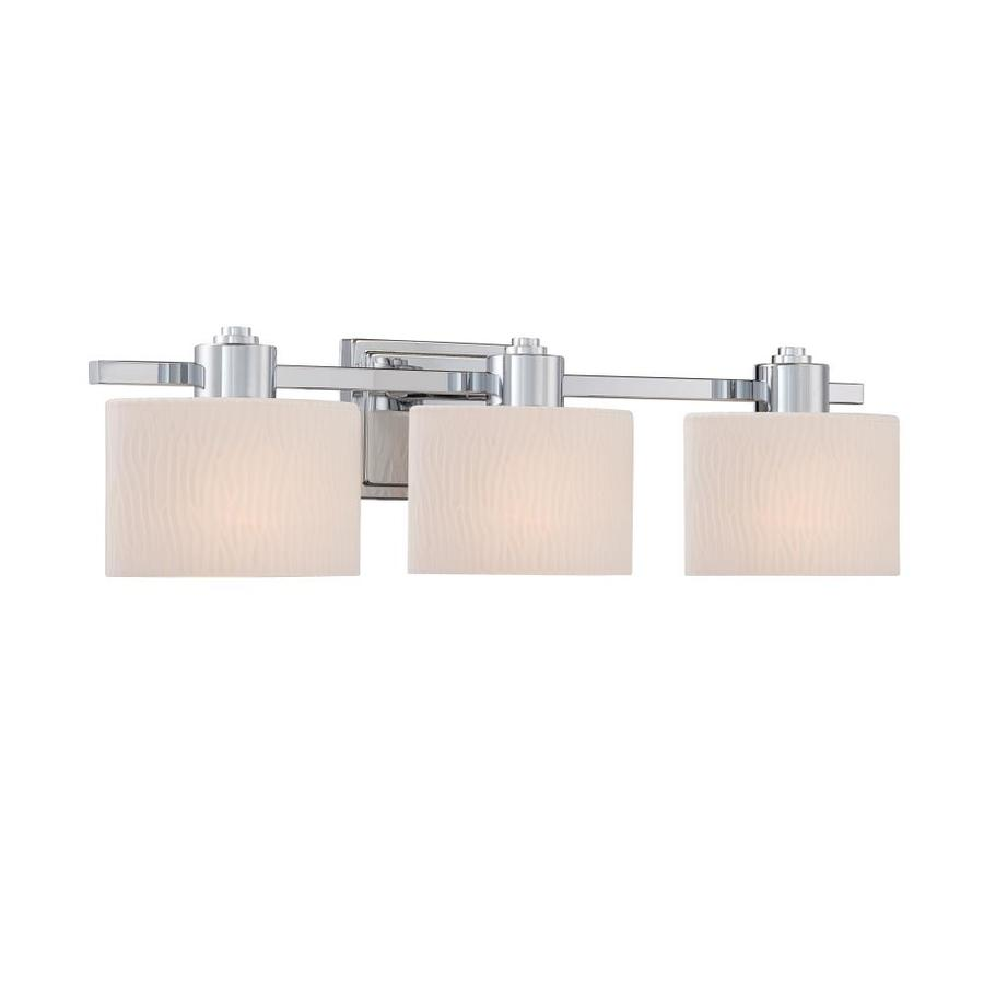 Shop allen roth 3 light grayson polished chrome bathroom for Bathroom light fixtures lowes