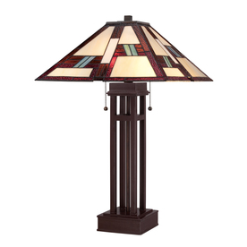 Portfolio 25-in Russet Tiffany-Style Indoor Table Lamp with Tiffany-Style Shade
