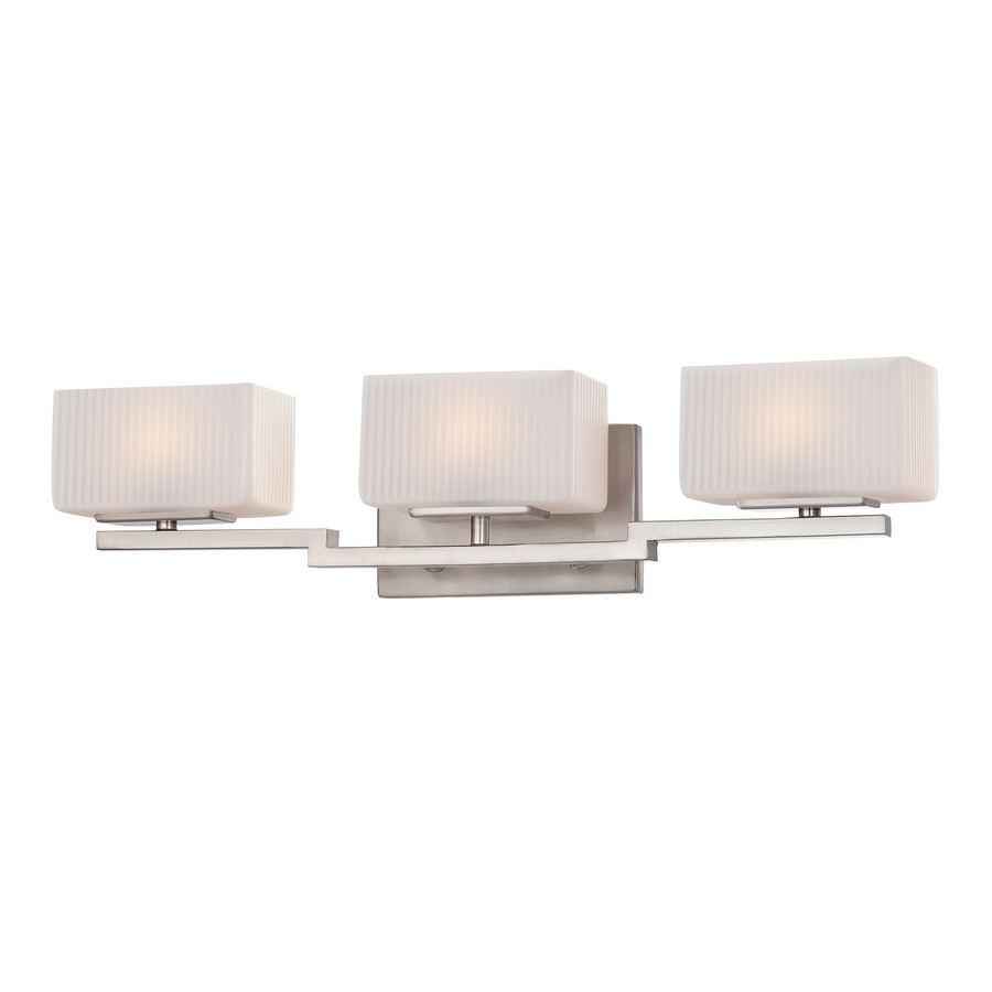 Lowes Vanity Lights For Bathroom : Shop Ashley Harbour 3-Light Brushed Nickel Bathroom Vanity Light at Lowes.com