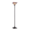 allen + roth Ascension Ridge 71.75-in 3-Way Bronze Tiffany-Style Torchiere Indoor Floor Lamp with Glass Shade