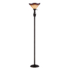 allen + roth 70.75-in Three-Way Bronze Tiffany-Style Torchiere Indoor Floor Lamp with Glass Shade