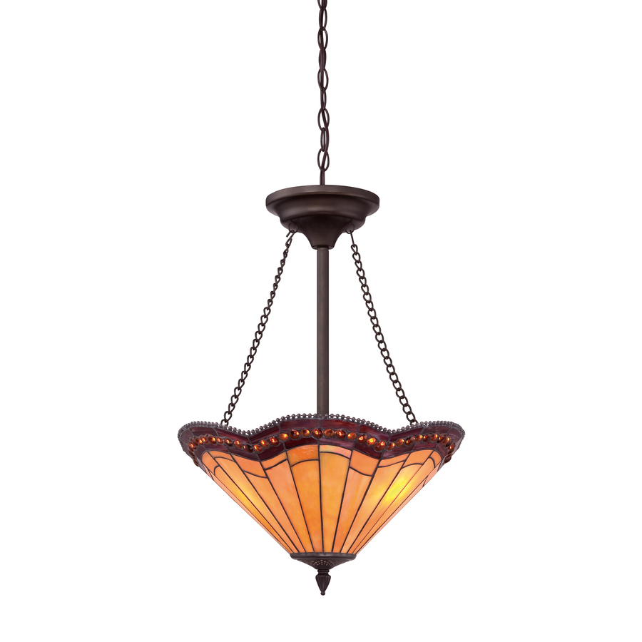 Shop allen + roth 18-in W Antique Bronze Tiffany-Style Pendant Light with Tiffany-Style Glass ...