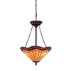 allen + roth 18-in W Antique Bronze Tiffany-Style Pendant Light with Tiffany-Style Shade
