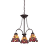allen + roth Ascension Ridge 19.5-in 3-Light Antique Bronze Tiffany-Style Stained Glass Standard Chandelier