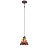 allen + roth Ascension Ridge 7-in W Antique Bronze Tiffany-Style Mini Pendant Light with Shade