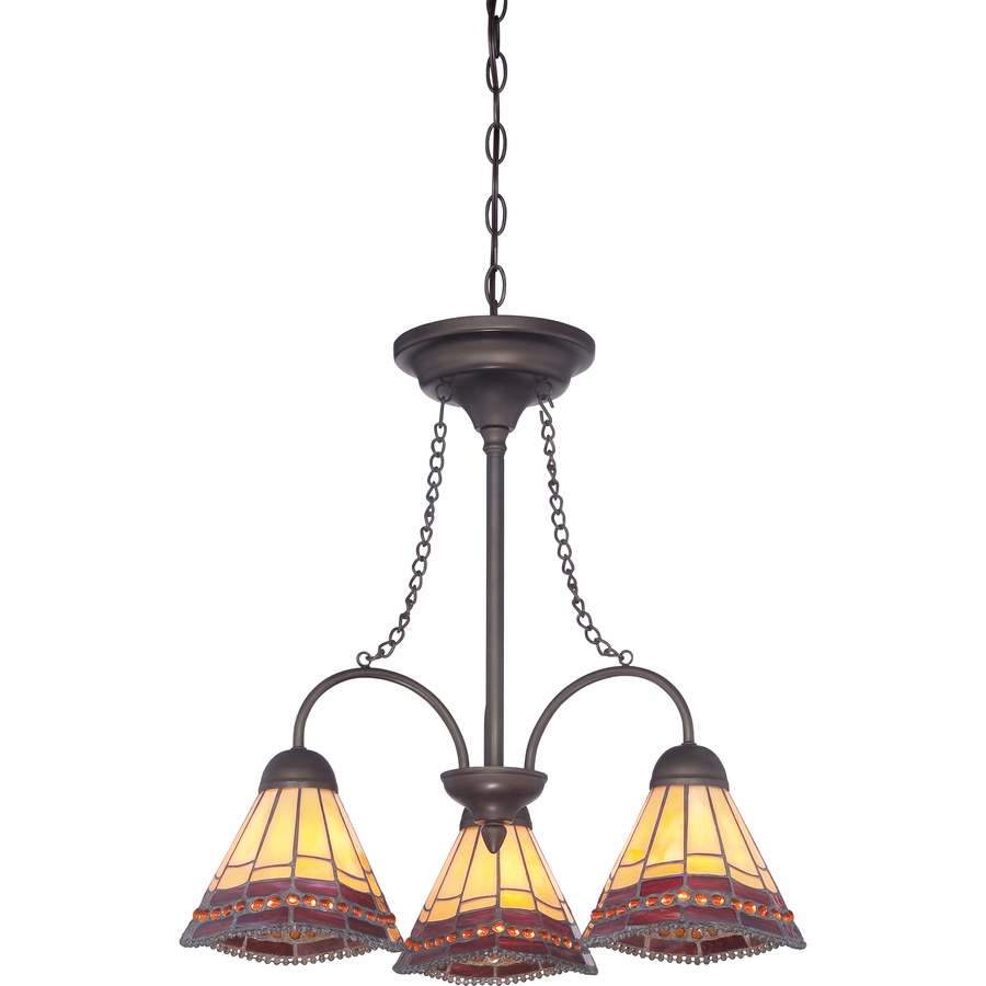Shop allen roth 3 light antique bronze tiffany style Allen and roth lighting