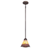 allen + roth 7.28-in W Antique Bronze Tiffany-Style Mini Pendant Light with Shade