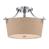 allen + roth 16-in W Chrome Fabric Semi-Flush Mount Light