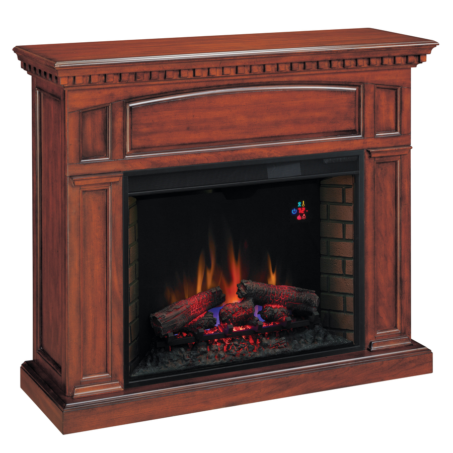 Shop Chimney Free 53 In W 4 600 Btu Premium Cherry Wood And Metal Wall Mount Electric Fireplace