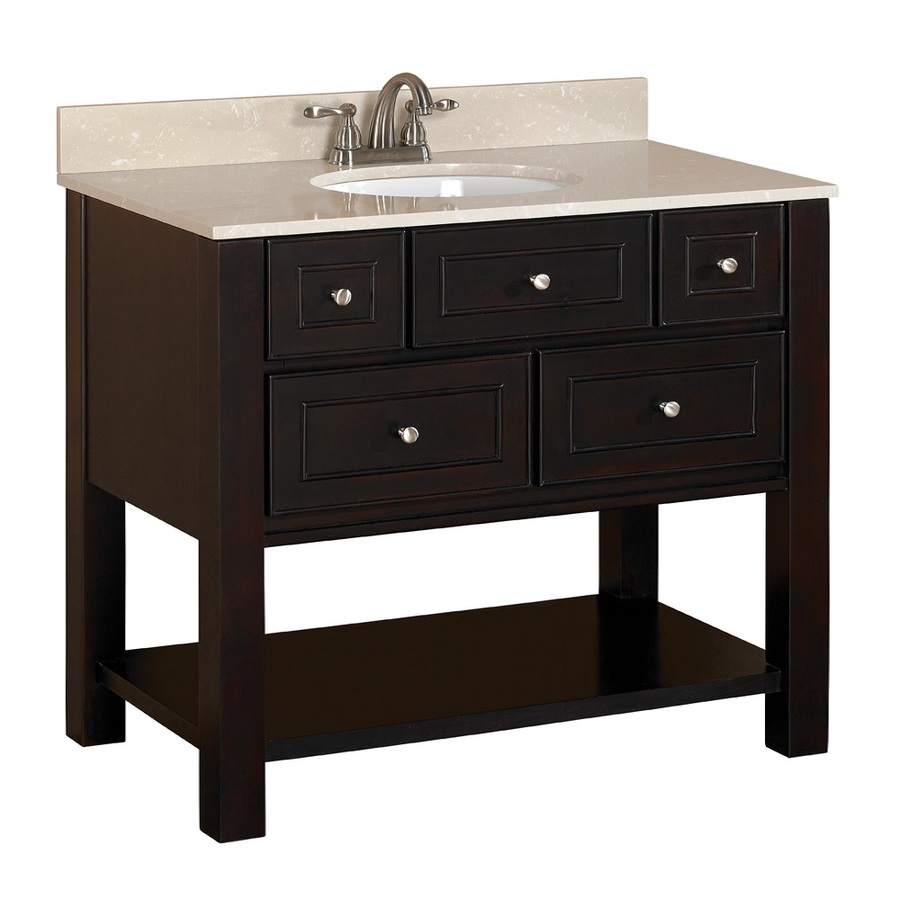 Shop allen roth hagen espresso undermount single sink - Lowes single sink bathroom vanity ...