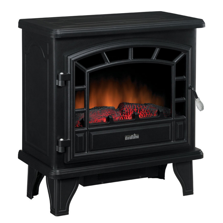 Shop Duraflame 25 In W 4 600 Btu Black Metal Corner Or Wall Mount Electric Stove With Thermostat