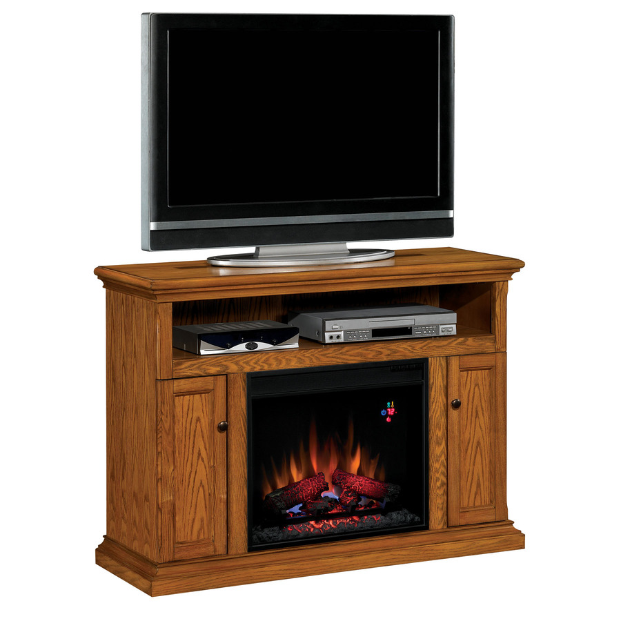 Shop Chimney Free W 4 600 Btu Oak Wood Fan Forced Electric Fireplace With Thermostat