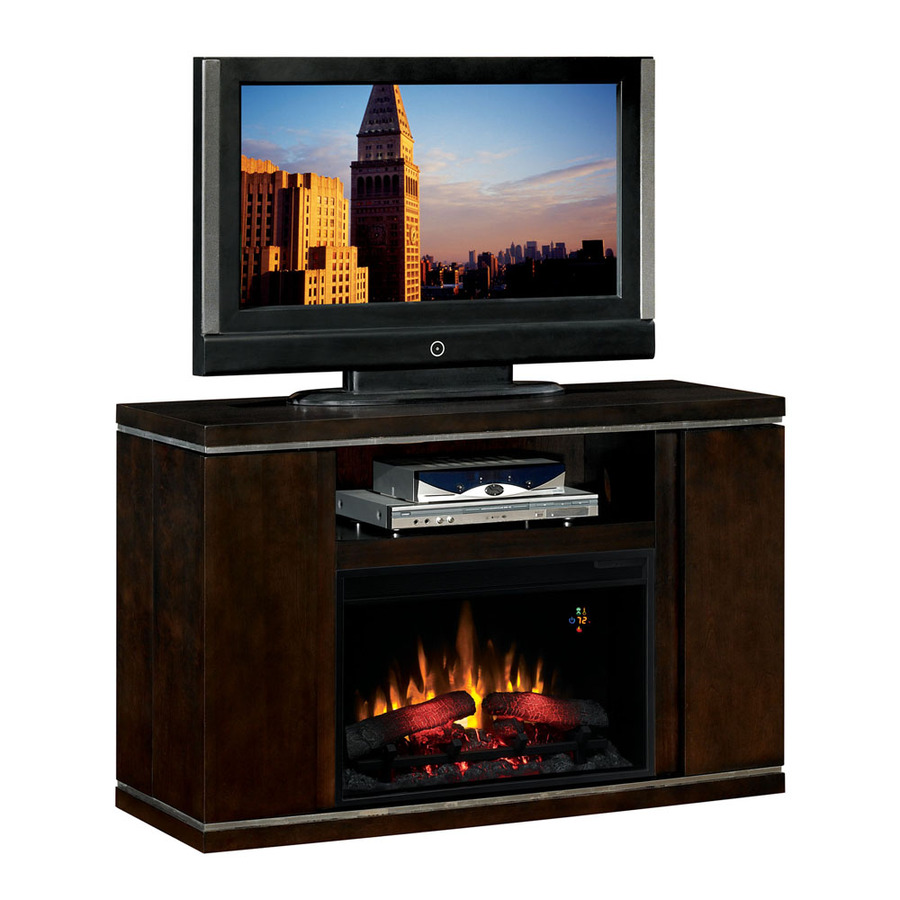 Shop Chimney Free 48 In W Espresso Media Console Electric Fireplace With Thermostat And Remote