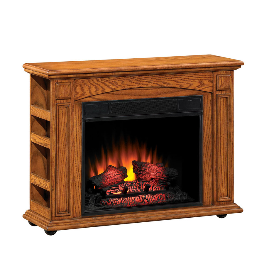 Shop Style Selections 37 In W 4 600 Btu Premium Oak Wood Fan Forced Electric Fireplace With