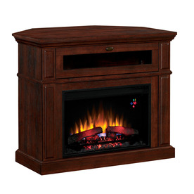 Style Selections 40-in W 4,600-BTU Brown Cherry Laminate Wood and Metal Corner or Wall Mount Electric Fireplace with Thermostat and Remote Control