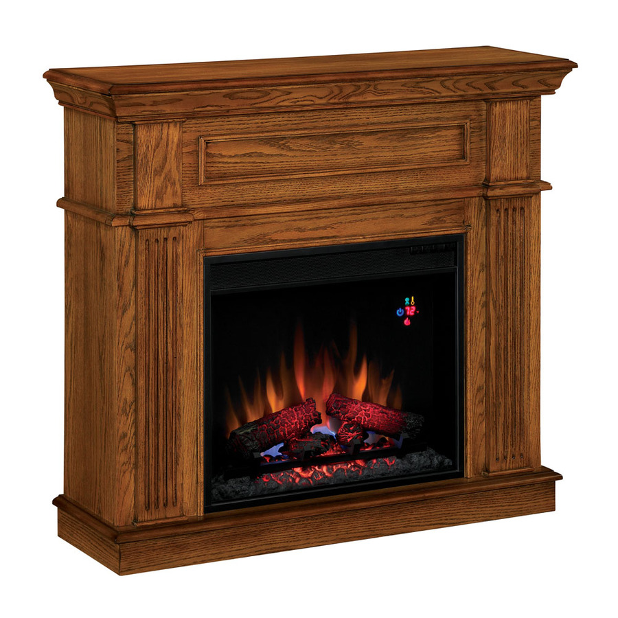Shop Style Selections 41 In W 4 600 Btu Premium Oak Wood And Metal Wall Mount Electric Fireplace