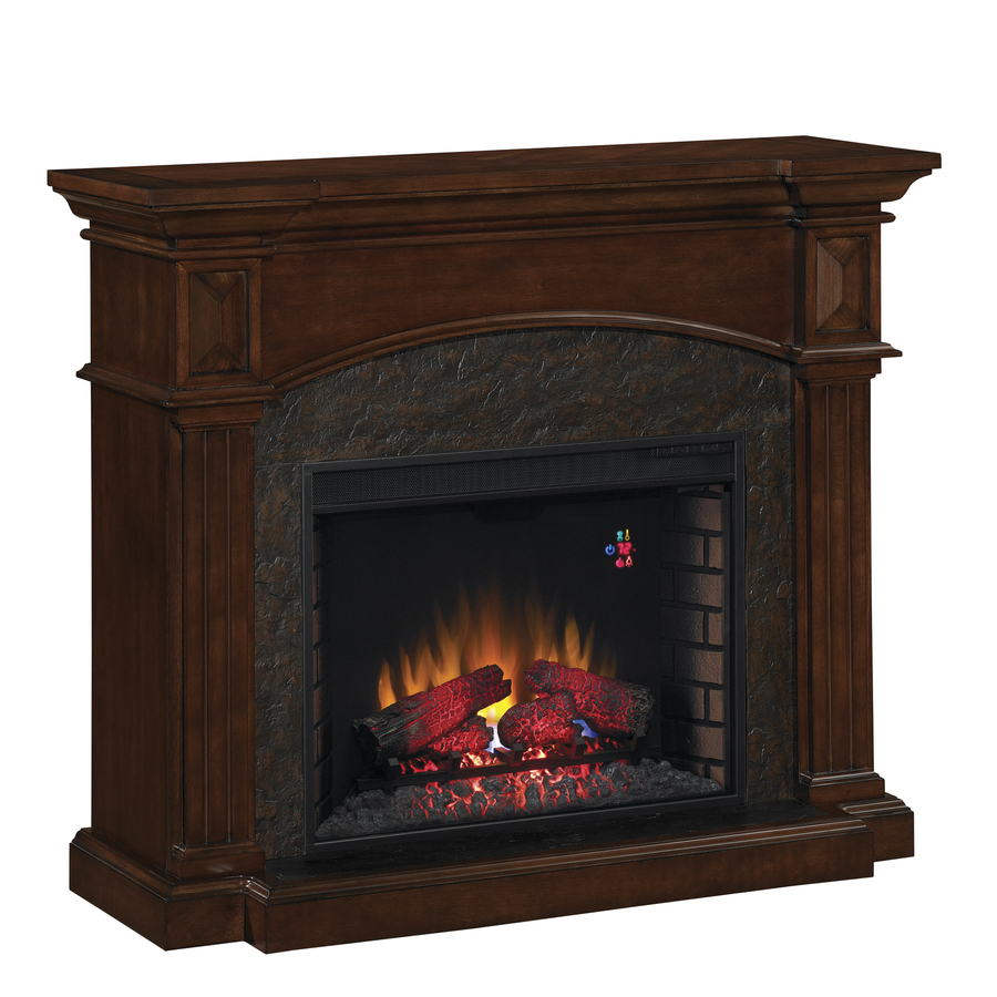 Shop Chimney Free 50 In W 4 600 Btu Premium Cocoa Cherry Wood And Metal Wall Mount Electric