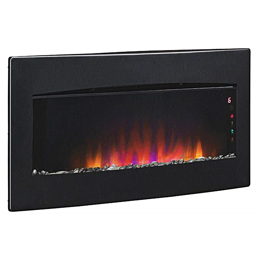 Shop Style Selections W 1 350 Btu Black Metal Wall Mount Electric Fireplace With