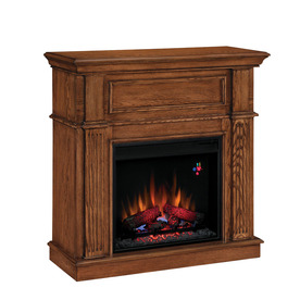 Style Selections 41-in W 4,600-BTU Midnight Oak Wood and Metal Wall Mount Electric Fireplace with Thermostat and Remote Control