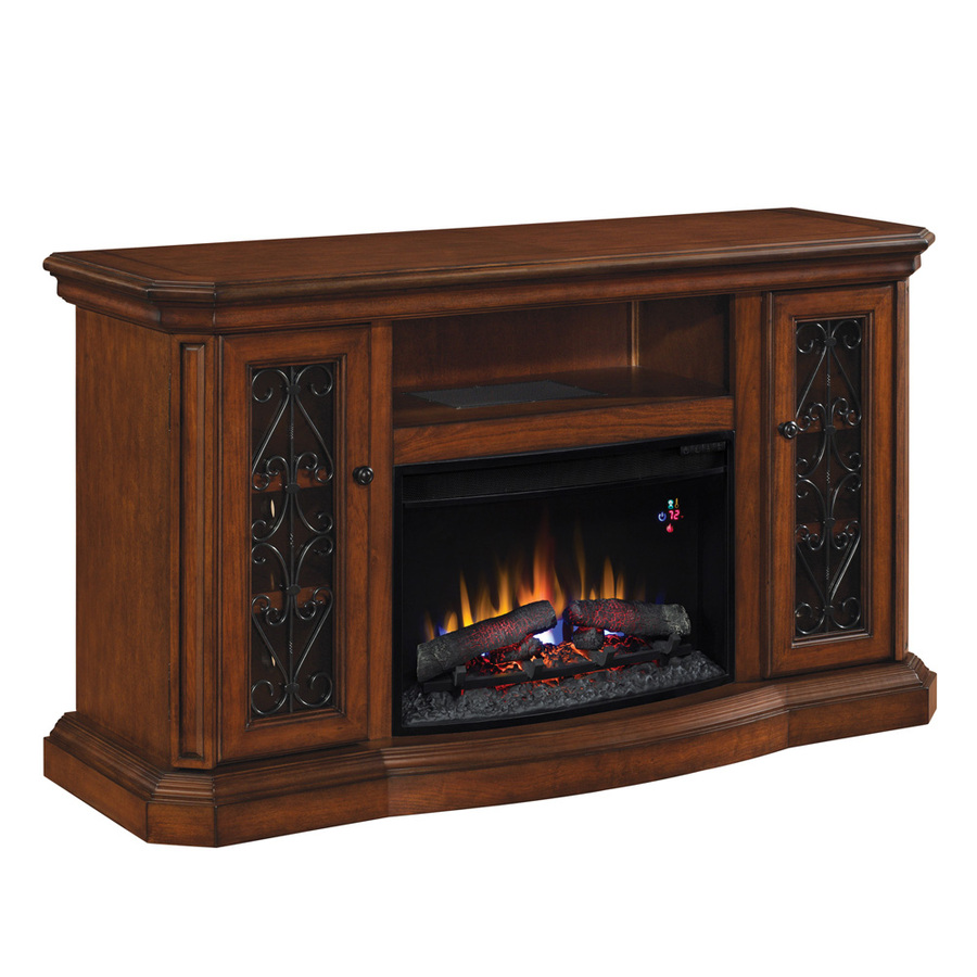 shop allen roth 60 in w 4 600 btu sable wood and metal wall mount electric fireplace with