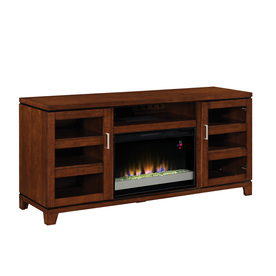 allen + roth 64-in W 4,600-BTU Auburn Wood and Metal Wall Mount Electric Fireplace with Thermostat and Remote Control