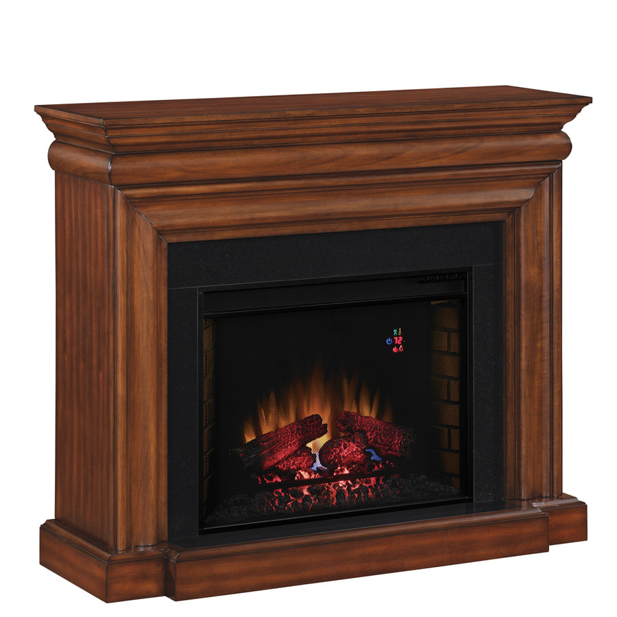 Shop Allen Roth 50 In W 4 600 Btu Java Wood And Metal Wall Mount Electric Fireplace With