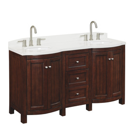allen + roth Moravia Sable Undermount Double Sink Birch/Poplar Bathroom Vanity with Engineered Stone Top (Common: 60-in x 20-in; Actual: 60-in x 20-in)