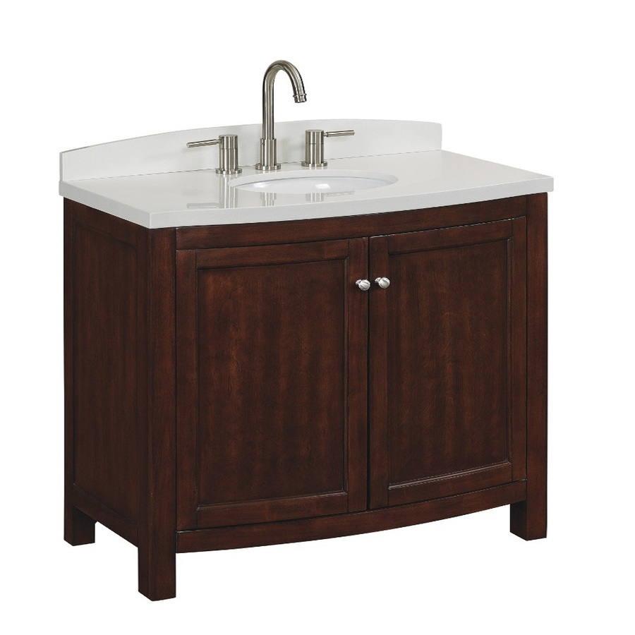 Shop allen roth moravia sable undermount single sink bathroom vanity with engineered stone top Lowes bathroom vanity and sink