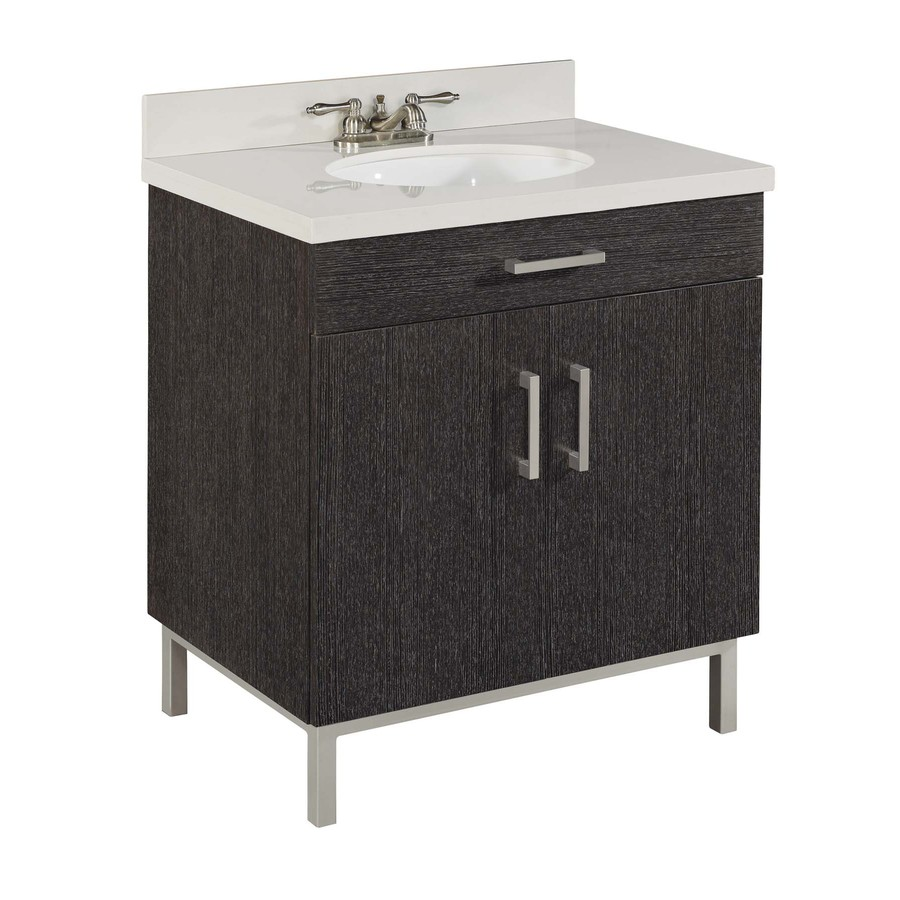 Shop style selections bradstreet driftwood undermount - Lowes single sink bathroom vanity ...