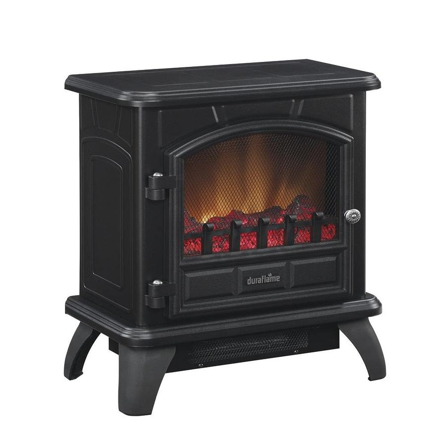 Shop Duraflame 17 In W 4 600 Btu Black Metal Flat Wall Fan Forced Electric Stove With Thermostat