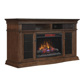Shop Style Selections 59 In W 5 200 Btu Walnut Wood Infrared Quartz Electric Fireplace With