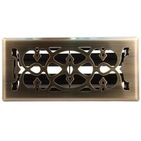 allen + roth Victorian Antique Brass Steel Floor Register (Rough Opening: 4-in x 10-in; Actual: 5.36-in x 11.43-in)