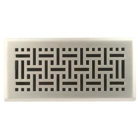 allen + roth Wicker Satin Nickel Steel Floor Register (Rough Opening: 4-in x 10-in; Actual: 5.36-in x 11.46-in)