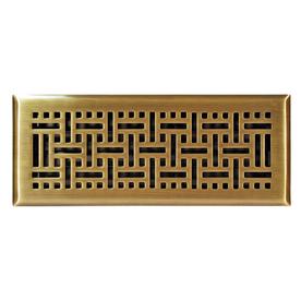 allen + roth Wicker Antique Brass Steel Floor Register (Rough Opening: 4-in x 12-in; Actual: 5.36-in x 13.37-in)