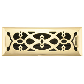 allen + roth Victorian Polished Brass Steel Floor Register (Rough Opening: 4-in x 14-in; Actual: 5.37-in x 15.42-in)