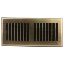 Accord Louvered Antique Brass ABS Resin Floor Register (Rough Opening: 4-in x 10-in; Actual: 5.38-in x 11.42-in)