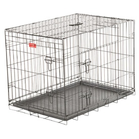 Lucky Dog 36-in x 24-in x 24.25-in Black Powder Coat Collapsible Plastic and Wire Pet Crate