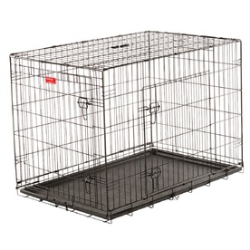 Lucky Dog 36.5-in x 36.5-in x 24.58-in Black Powder Coat Collapsible Plastic and Wire Pet Crate