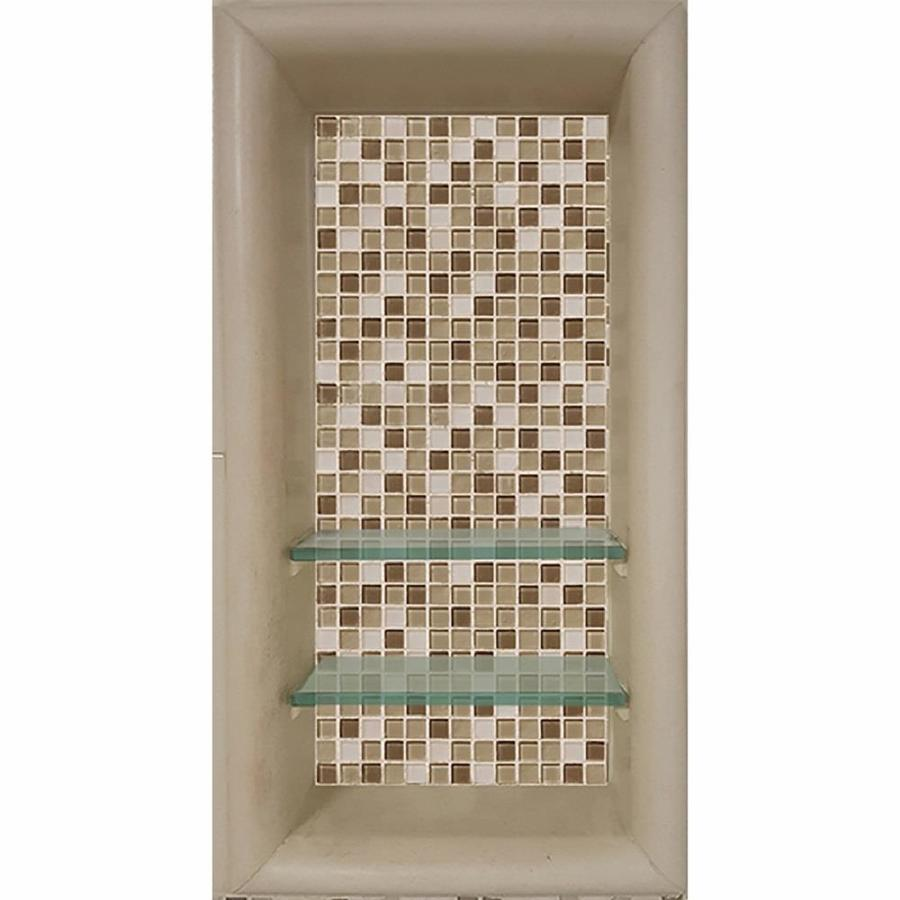 shower shelves lowes sistine stone with mesa mosaic tiles shower wall shelf at lowes com