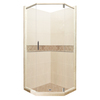American Bath Factory Flagstaff Medium with Accent Fiberglass and Plastic Wall Stone Composite Floor Neo-Angle 14-Piece Corner Shower Kit (Actual: 80-in x 42-in x 42-in)