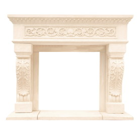 HISTORIC MANTELS LIMITED Chateau 62-in W x 52-in H Distressed Ivory Traditional Fireplace Surround