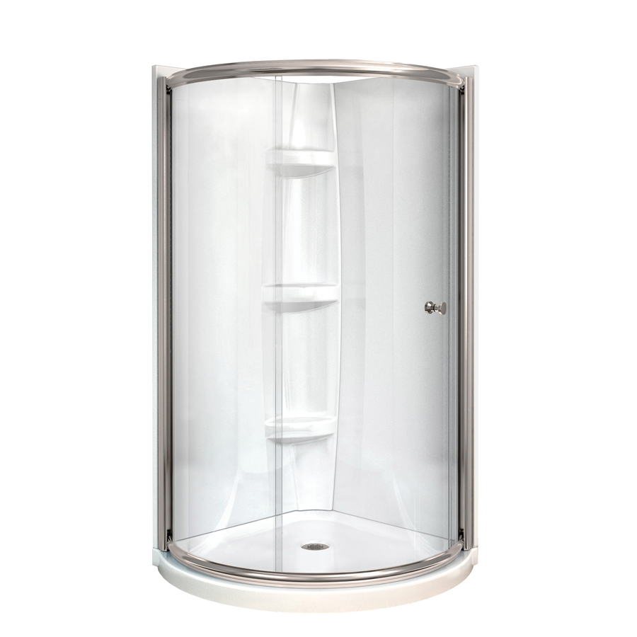 Shop MAAX Tully Nickel Acrylic Round 4 Piece Corner Shower Kit Actual