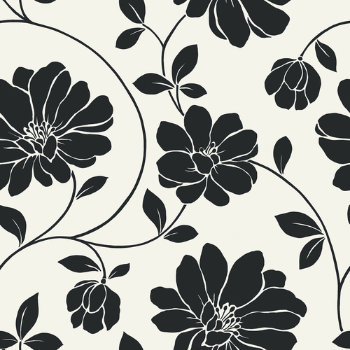 Aflsowan: Black And White Floral Wallpaper