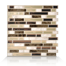 Shop smart tiles white beige and brown linear mosaic composite vinyl wall t - Smart tiles leroy merlin ...