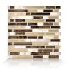 Smart Tiles White, Beige, and Brown Linear Mosaic Composite Vinyl Wall Tile (Common: 10-in x 10-in; Actual: 10-in x 10.13-in)