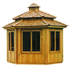 Cedarshed Whistler 10ft Cedar Hexagon All-Season Gazebo with 2-Tier Roof, Windows and Screens