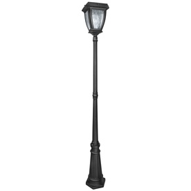 Portfolio 82.48-in H Black Solar LED Post Light